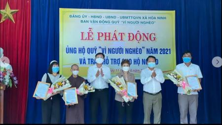 """UBMTTQVN xã Hòa Ninh tổ chức lễ phát động ủng hộ Quỹ """" Vì người nghèo """" năm 2021"""